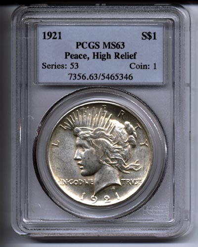 High Relief Peace Dollar Peace Dollar High Relief