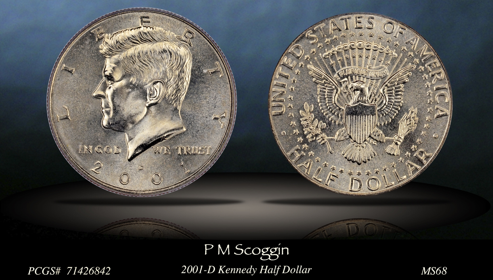 2001 PCGS MS 68 BUSINESS STRIKE JFK HALF DOLLAR **VERY RARE NEAR PERFECT COIN**