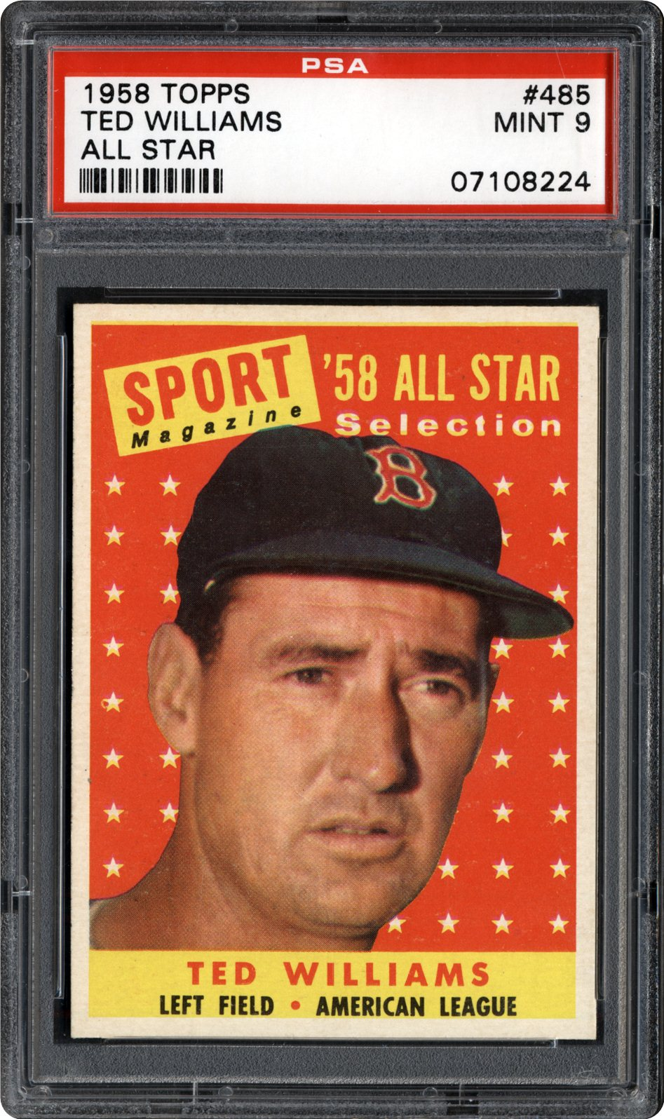 1958 Topps 485 Ted Williams All Star