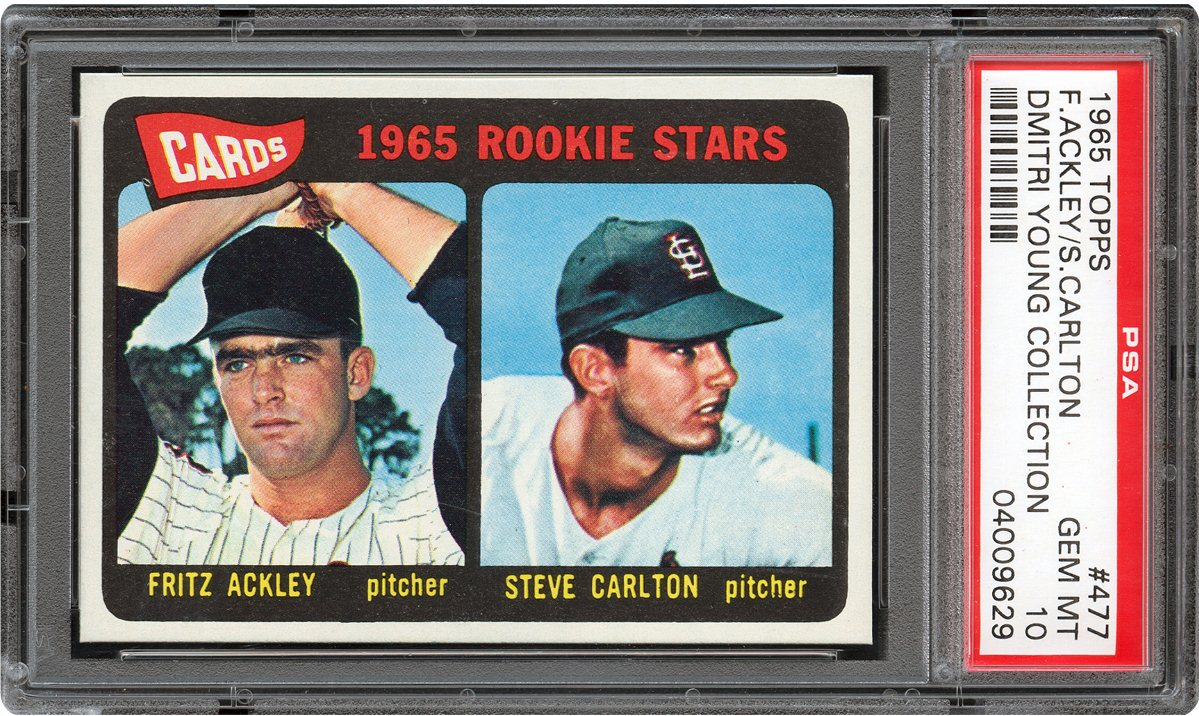 1965 topps 477 cardinals rookies f ackley s carlton