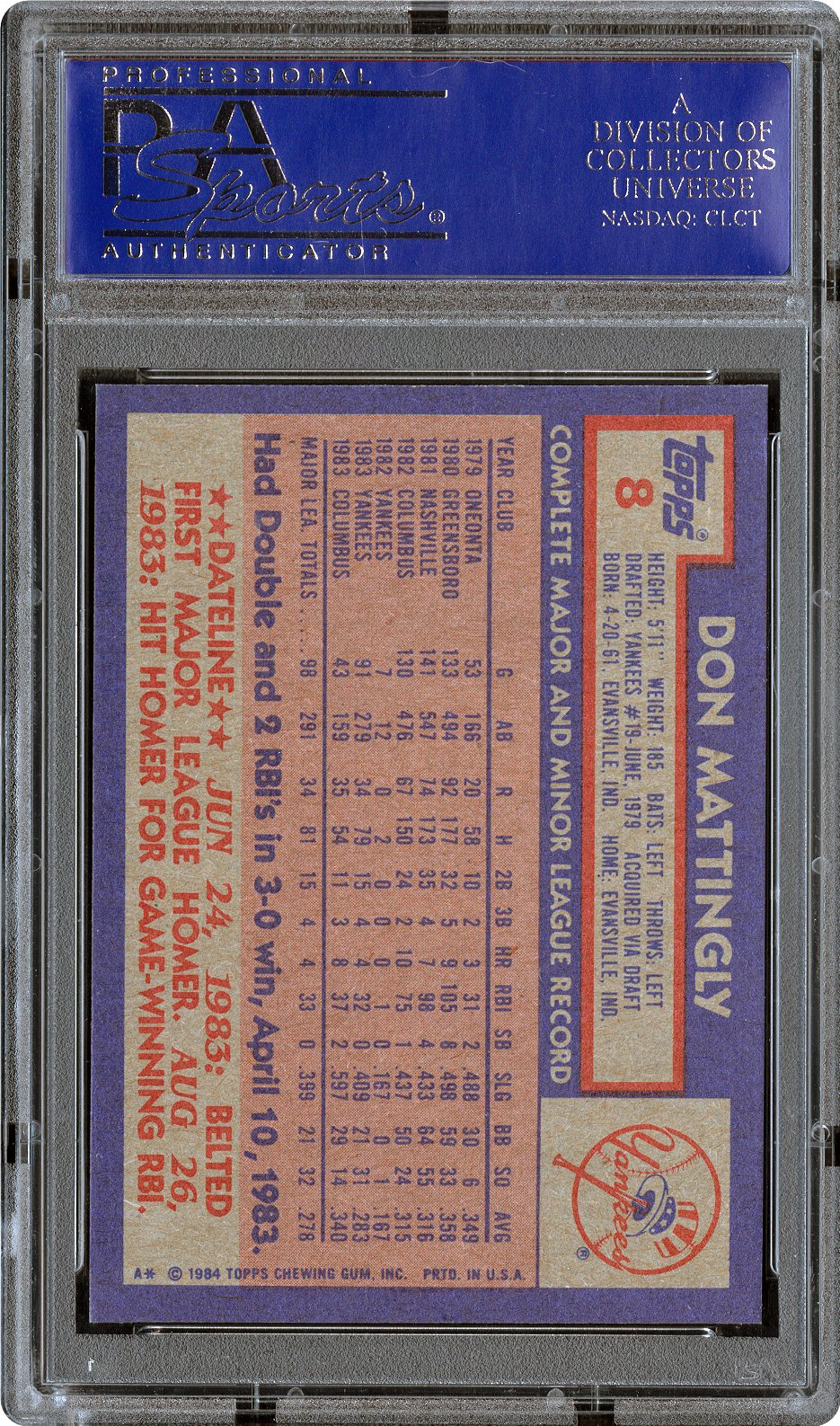 1984 Topps Don Mattingly Psa Cardfacts