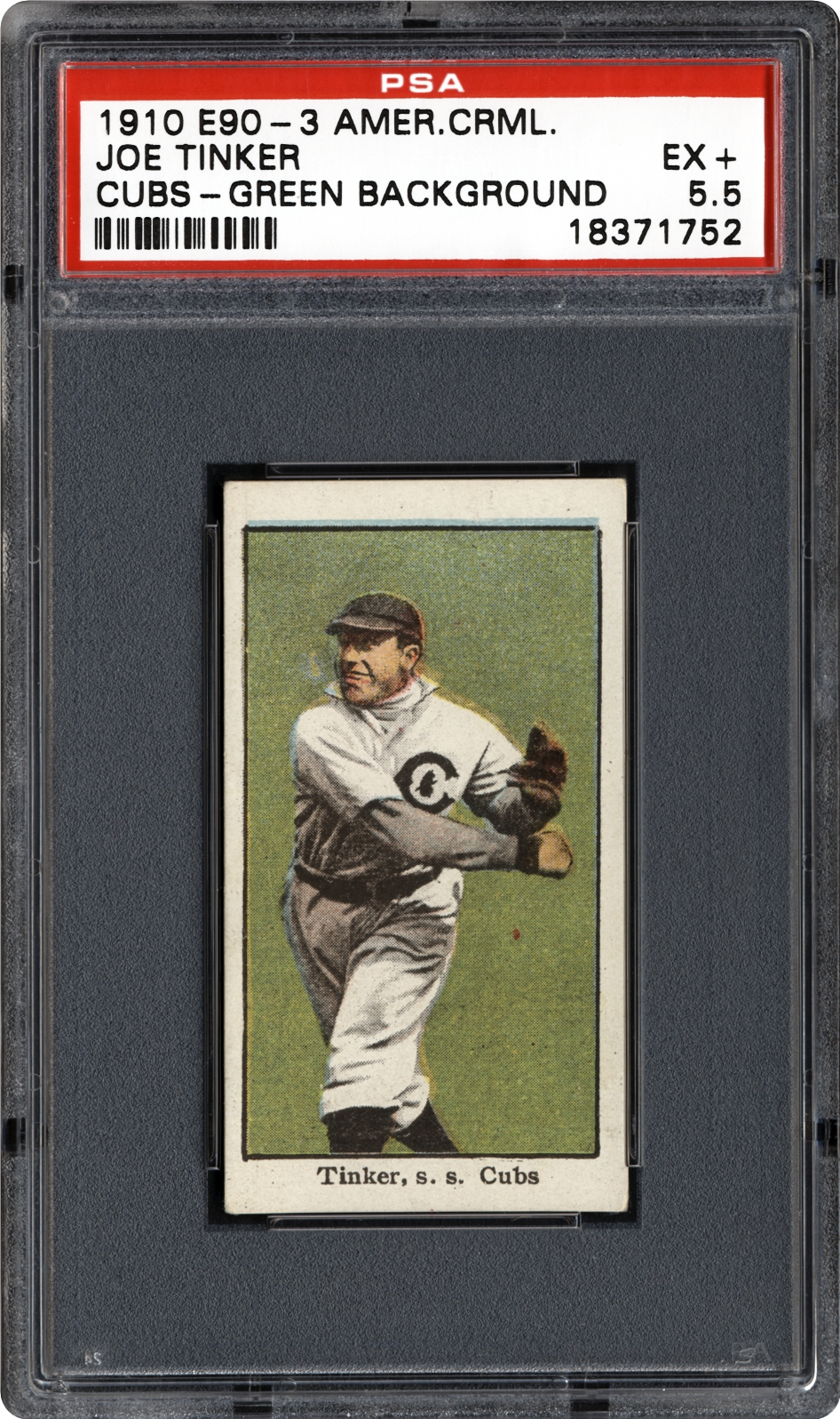 1910 American Caramel White Sox/Cubs (E90-3)  Joe Tinker (Cubs-Green Background)