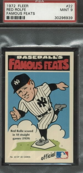 Baseball 1972 Fleer Famous Feats All Time Set 707